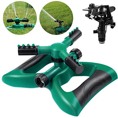 - Homemaxs Lawn Sprinkler 3 Arm with Impact Sprinkler, Automatic 360 Degree Rotating, Adjustable Angle and Distance, Garden Water Sprinkler Lawn Irrigation System