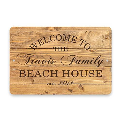 Personalized Rustic Wood Plank Welcome to the Family Beach House Metal Room Sign (Wood Aluminum Pattern Plank)