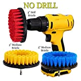 glass tub cutter - HIFROM 5inch Drill Brush - Stiff Medium Attachment Scrub Cleaning Kit for Pool Tile Flooring Brick Ceramic Marble Carpets Tires Boats Outdoors