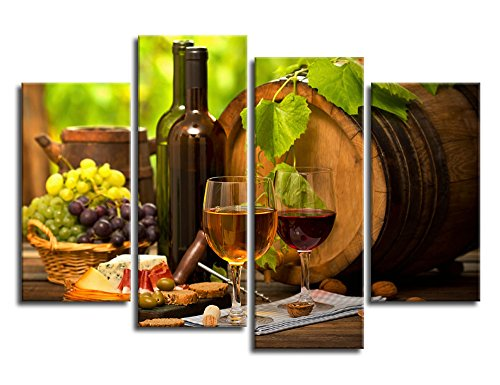 yearainn Kitchen Wall Art Canvas Artwork Fruits Grapes Wine Bottle Foods Canvas Painting - 4 Pieces Large Canvas Art Contemporary Nature Pictures for Dining Room Wall Decor Home Decoration Dining Food