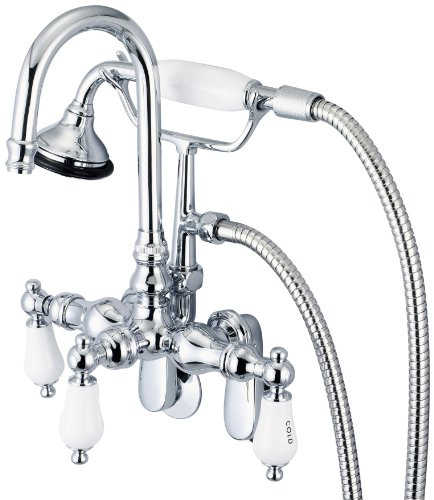 (Water Creation F6-0011-01-AL Vintage Classic Adjustable Spread Wall Mount Tub Faucet with Gooseneck Spout, Swivel Wall Connector and Handheld Shower)