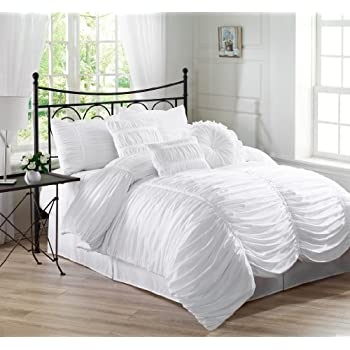 chezmoi collection 7piece chic ruched duvet cover set full white