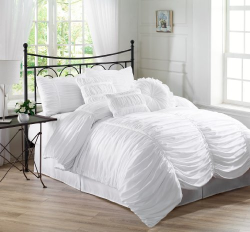 Chezmoi Collection 7-Piece Chic Ruched Duvet Cover Set, King, White