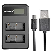 Neewer Portable LED Display USB Dual Battery Charger for Fujifilm NP-W126 Battery, Suitable for Fuji FinePix HS30EXR, HS33EXR, HS50EXR, X-A1, X-E1, X-E2, X-M1, X-Pro1, X-T1 DSLR Cameras