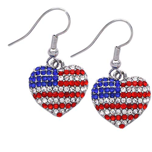 cocojewelry USA US American Flag Patriotic Red Blue Heart Earrings Jewelry
