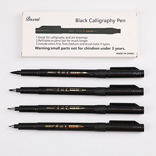 Refillable Brush Marker Pens for Hand Lettering - 4 Size Black Calligraphy Ink Pen for Beginners Writing, Signature, Illustration, Design by BOXUN (Image #4)