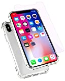 Wireless - iPhone X Case / iPhone x Screen Protector, Soft TPU Clear Case Airbag Drop Protection, Tempered Glass Screen Protector, Protection Kit for Apple iPhone x
