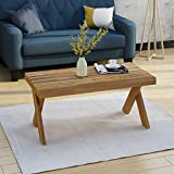 Estelle Indoor Farmhouse Acacia Wood Coffee Table, Teak