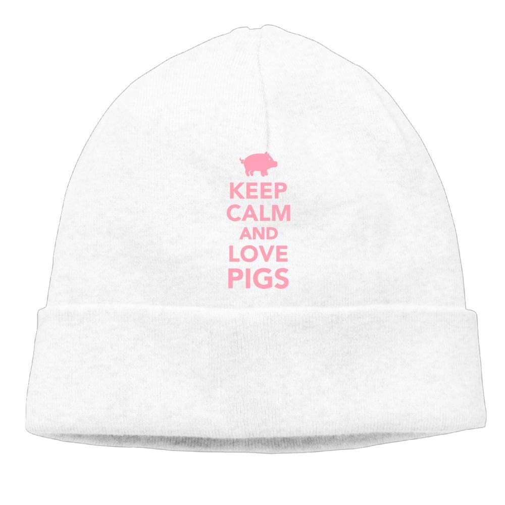 Beanie Hat Knitted Hats Winter Warm Elastic Keep Calm and Love Pigs Male
