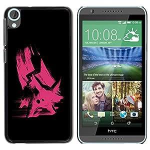 TopCaseStore / la caja del caucho duro de la cubierta de protección de la piel - Pink Poke - HTC Desire 820