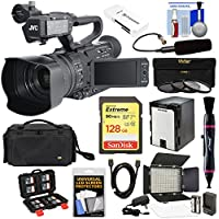 JVC GY-HM200U Ultra 4K HD 4KCAM Professional Camcorder & Top Handle Audio Unit with XLR Microphone + 128GB Card + Battery + Case + LED Video Light Kit