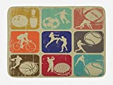 Ambesonne Sports Bath Mat, Assorted Sports Banners Vintage Grunge Effect Tennis Soccer Bowling Sports Pub Theme, Plush Bathroom Decor Mat with Non Slip Backing, 29.5 W X 17.5 W Inches, Multicolor