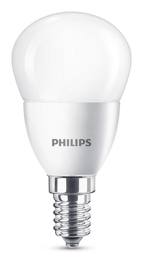 Philips Bombilla Gota Vela LED de luz cálida, 4 W/25 W, Casquillo E14, Blanco 1 unidad: Amazon.es: Iluminación