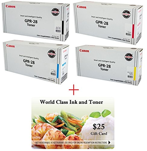 - WCI© Best Value Pack® of All (4) Genuine Original Canon Brand GPR-28 Toner Cartridges + a FREE $25 Restaurant Gift Certificate (1 ea of BK/CY/MG/YE) For: ImageRunner C1022/C1022i/C1030/C1030iF Series.