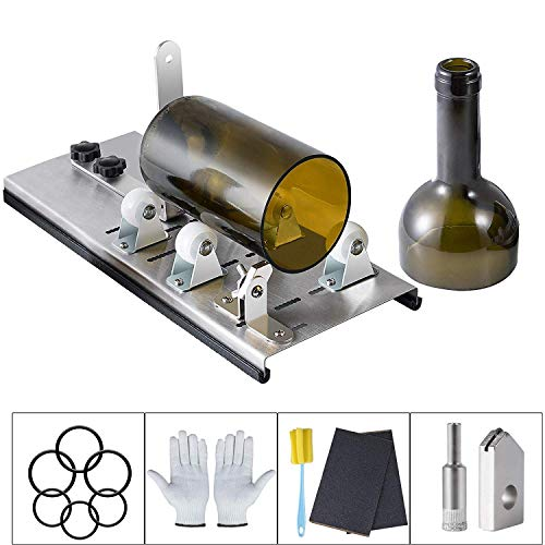 Kalawen Glass Bottle Cutter Bottle Cutter Latest Version DIY Machine for Cutting Wine Beer Whiskey Alcohol Champagne to Craft Glasses Accessories Tool Kit Gloves Fixing Rubber Ring