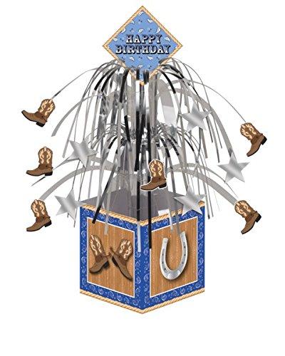 Blue Banda Cowboy Mini Cascade Centerpiece with Base/Case of