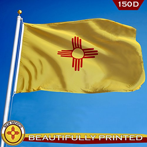 G128 – New Mexico State Flag 150D Quality Polyester 3x5 ft Printed Brass Grommets Flag Indoor/Outdoor - Much Thicker and More Durable Than 100D and 75D (New Mexico State Flag)