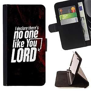BullDog Case - FOR/HTC One M9 / - / THERE'S NO ONE LIKE YOUR LORD /- Monedero de cuero de la PU Llevar cubierta de la caja con el ID Credit Card Slots Flip funda de cuer