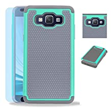 Samsung Galaxy A5 2015 Rugged Impact Heavy Duty Dual Layer Shock Proof Case Cover Skin - Teal / Gray