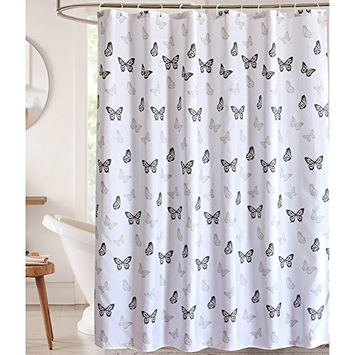 LanMeng Fabric Shower Curtain, Dancing Butterfly Design, Whi