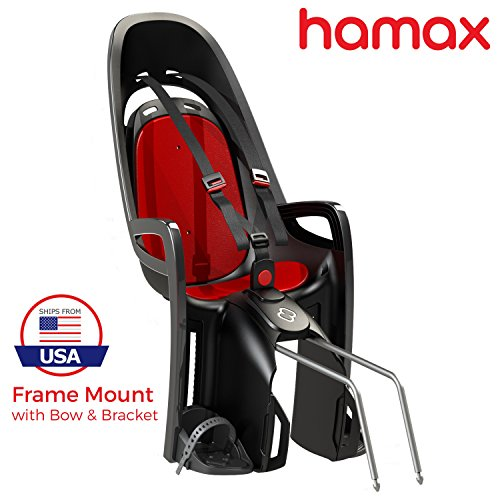 Hamax Zenith Rear Child Bike Seat (Grey/Red, Frame Mount)