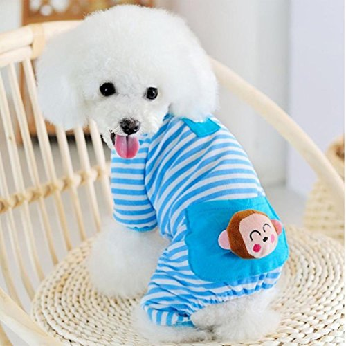 Image of Petparty Cute Bear Comfy Dog Pajams Dog Shirt Stripes Dog Jumpsuit Pet Dog Clothes (Blue, M)