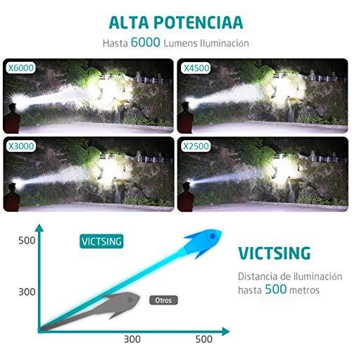 VicTsing - Lampe Frontale LED, 6000lumens, 4modes de lumière, pour Camping, Pêche, Vélo, Course, Chasse...(2piles rechargeables incluses, étanche IP65) 4