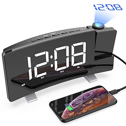 CSHID-US Projection Alarm Clock, 7'' Dimmable LED Curved Screen Digital Clock, FM Radio Alarm Clock, Adjustable Ceiling Sleep Timer for Kids Bedroom, Dual Alarms, 12/24 Hour, Snooze Function ()