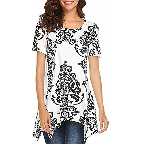 Women Shirts Plus Size,❤️TWinmar Summer Short Sleeve O-Neck Printed Irregular Tops Fashion Blouse Size S-2XL White