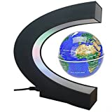 Floating Globe, Arvin Magnetic Levitation Globe Rotating Globe Educational Learning Geographic Political World Map with Funny C Shape Desktop Stand and LED Light for Home School Desk Office Decor