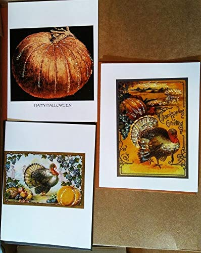 3 Pc Set Thanksgiving-Halloween - Vintage Image Greeting Cards with Sparkling Accents