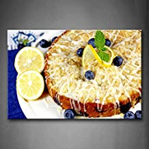 First Wall Art - Cake And Lemon With Blueberries And Butter Wall Art Painting The Picture Print On Canvas Food Pictures For Home Decor Decoration Gift