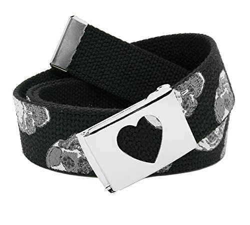 Men's Silver Flip Top Heart Belt Buckle with Printed Canvas Web Belt Large Skulls Print