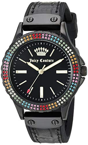 White Couture Juicy Leather - Juicy Couture Black Label Women's  Swarovski Crystal Accented Black Leather Strap Watch