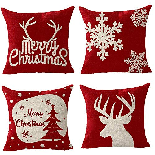 FELENIW 4 Pieces, Happy Winter Snowflake Animal Elk Deer Antlers Santa Claus Merry Christmas Blessing Gift Throw Pillow Cover Cushion Case Cotton Linen Material Decorative 18x18 inches ()