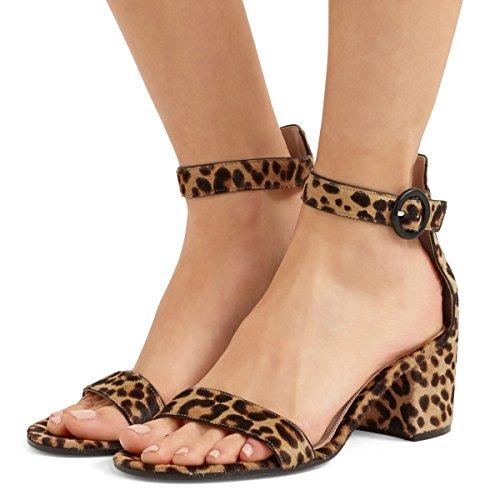 Fsj Vrouwen Basic Open Teen Sandalen Met Blok Hakken Faux Suede Ankle Strap Pumps Maat 4-15 Ons Leopard