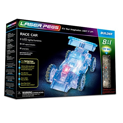 1 Model Car Kit - Laser Pegs Race Car 8-in-1 Building Set Building Kit; The First Lighted Construction Toy to Ignite Your Child's Creativity; It's Your Imagination, Light It Up