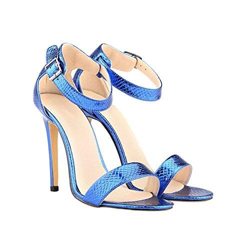 Zhuhaixmy Womens Crocodile pattern 11CM Buckle High Heels Stilettos Sandals Shoes Blue NLIvqOct2