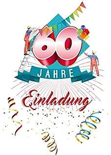 Einladungskarten Runder Geburtstag. Postkarten 20 Stück Im Set. Einladung  Zum 60 Geburtstag Mit Text