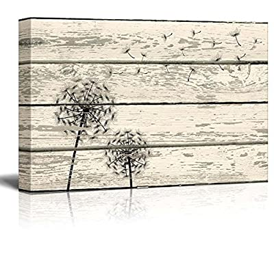 Rustic Canvas Prints Wall Art - Dandelion Artwork on Vintage Wood Board Background Stretched Canvas Wrap. Ready to Hang - 32