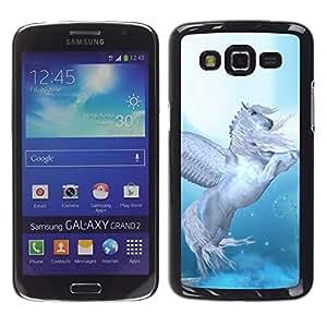 Be Good Phone Accessory // Dura Cáscara cubierta Protectora Caso Carcasa Funda de Protección para Samsung Galaxy Grand 2 SM-G7102 SM-G7105 // Pegasus Wings Blue White Horse Animal