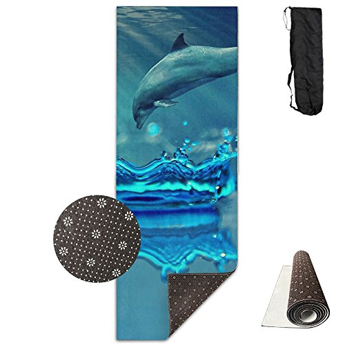 Jessent Yoga Mat Non Slip Amazing Dolphin Printed 24 X 71 Inches Premium For Fitness Exercise Pilates With Carrying -