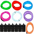 7 Pack - Jytrend 9ft Neon Light El Wire w/ Battery Pack (Green, Blue, Red, Orange, Purple, White, Pink)