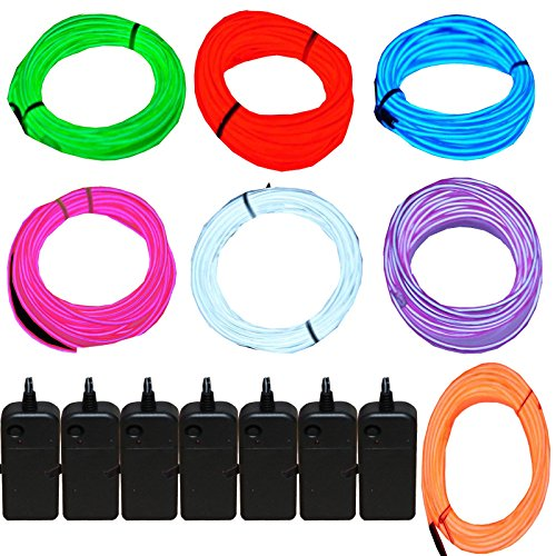 7 Pack - Jytrend 9ft Neon Light El Wire w/Battery Pack (Green, Blue, Red, Orange, Purple, White, Pink)]()