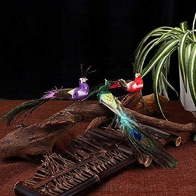 Asdomo - 12 figuras artificiales decorativas de espuma de simulación de pavo real, diseño de pájaros en miniatura, para decoración del hogar, decoración de césped, patio, jardín o árbol: Amazon.es: Hogar