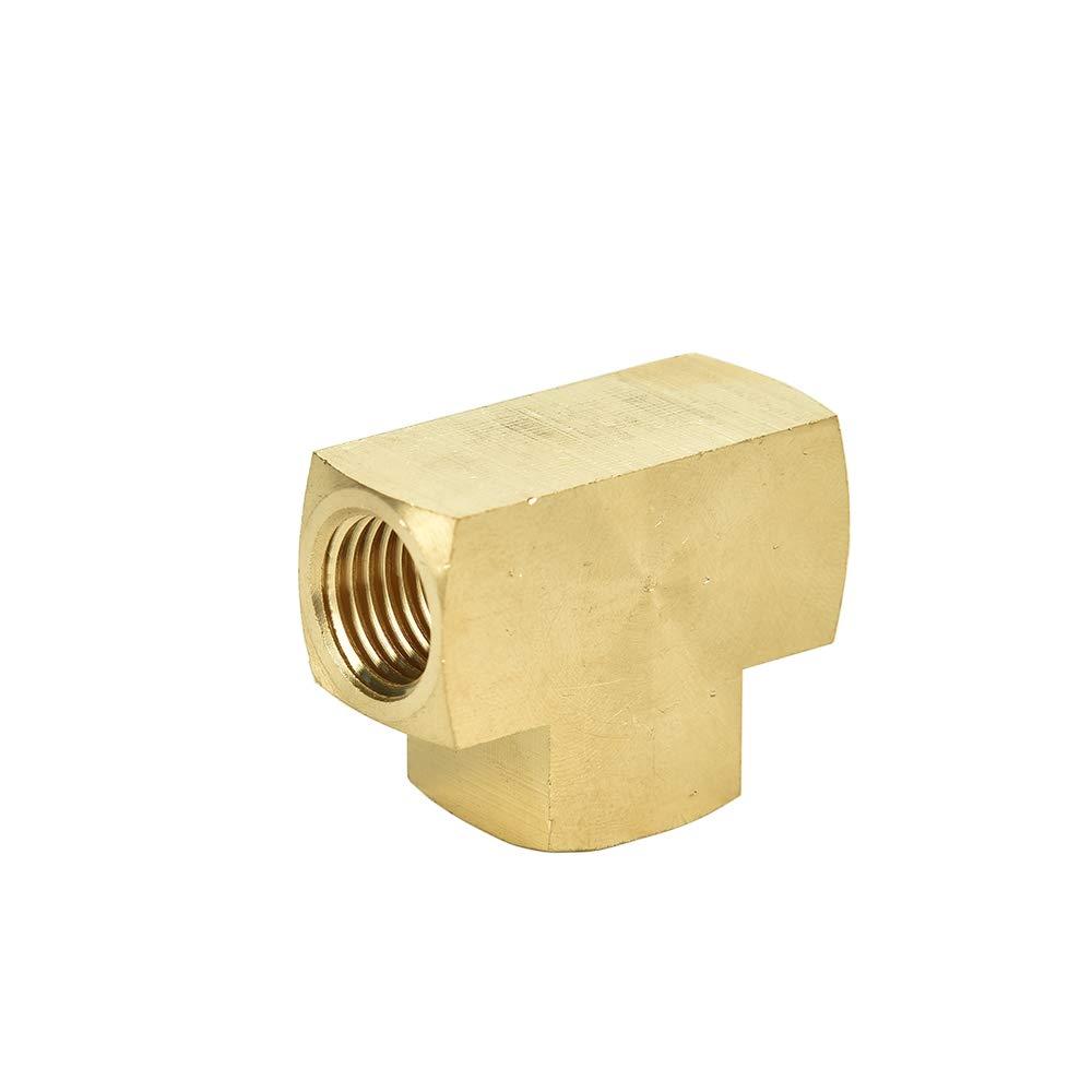 Brass Pipe Fitting 1//4 x 1//4 x 1//4 NPT Female Pipe Barstock Tee