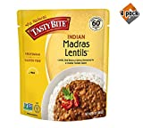 Tasty Bite Indian Entree Madras Lentils 10 Ounce (Pack of 6), Fully Cooked Indian Entrée with Lentils Red Beans & Spices in a Creamy Tomato Sauce, Microwaveable, Ready to Eat - 4 Pack