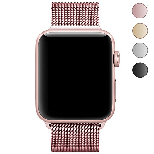 Walcase Apple Watch Band, Fully Magnetic Closure Clasp Mesh Loop Milanese Stainless Steel iWatch Band for Apple Watch Series 3/2/1 Sport and Edition - 38mm Rose Gold