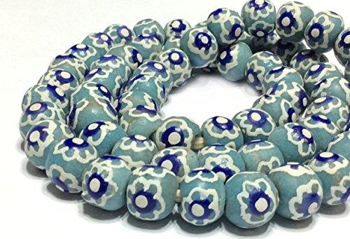 Fair Trade Glass - African handmade Blue round Krobo Recycled Glass trade beads- Strand of Eco-Friendly Fair Trade Beads from Ghana
