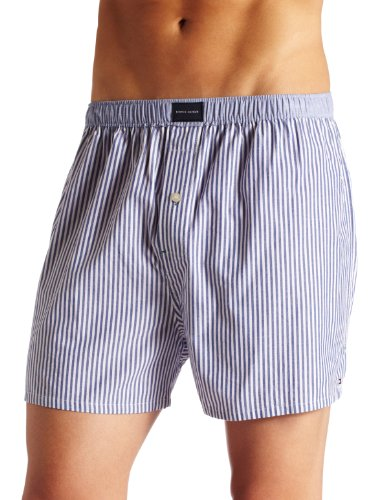 Tommy Hilfiger Men's Solid Vineyard Woven Boxer, Navy Stripe, Large (Solid Woven Boxer)